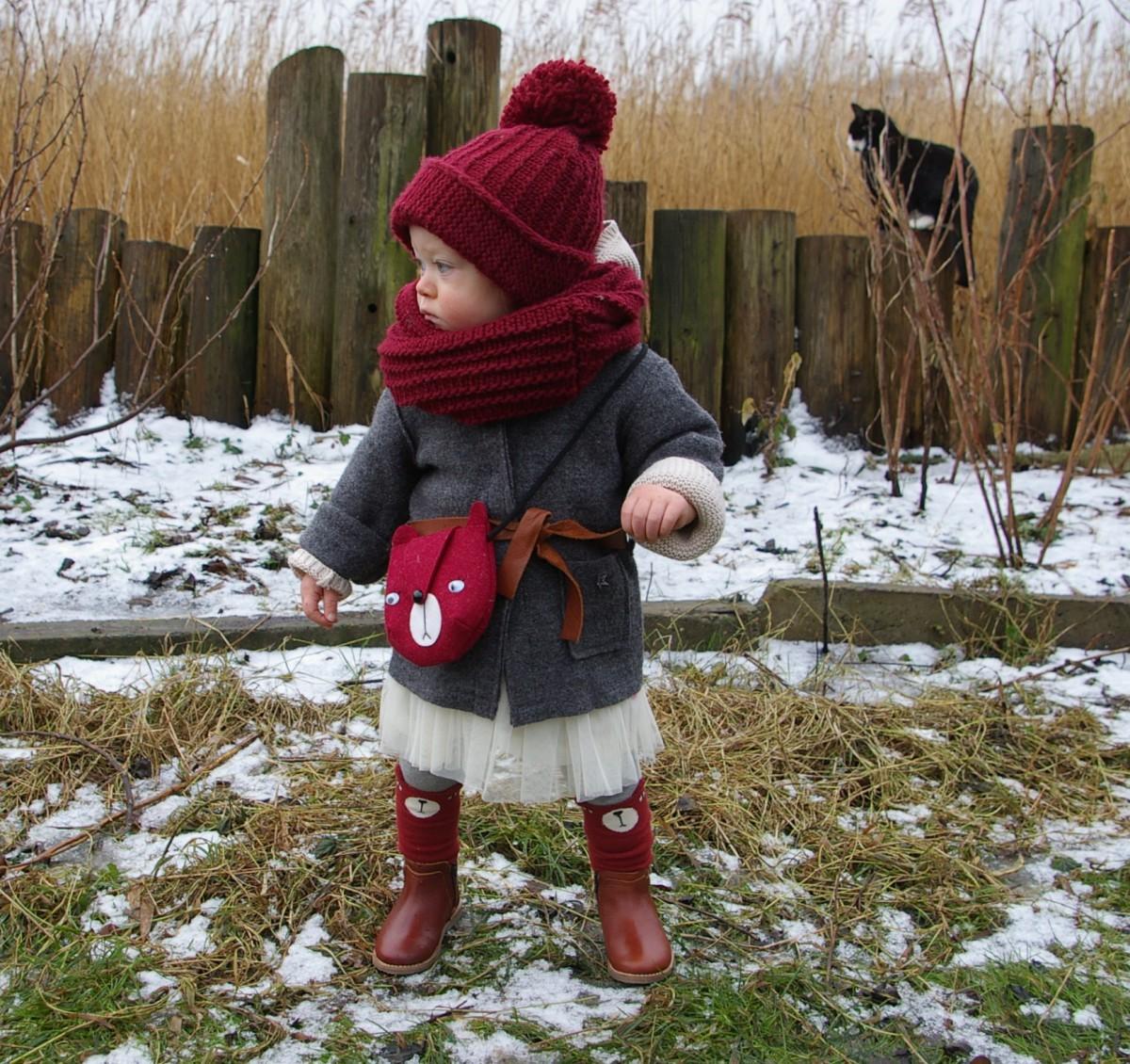Mini Dressing Kniestrümpfe Bär rot